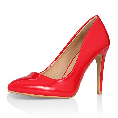 Stiletto Pointed Toe Heels Pumps Classic Women's Patent Milla Shoes Red Yeviavy Fashion Dress High 0Yxn6YaA