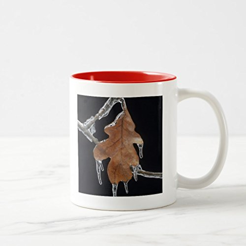 Zazzle Oak Leaf with Ice Sickles After Ice Storm ; Mug, Red Two-Tone Mug 11 oz
