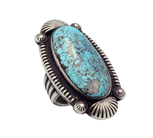 Calvin Martinez, Ring, Morenci Turquoise, Old Style, Silver, Navajo Handmade, 10 ()