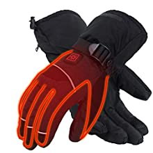 CHEROO Heated Warm Gloves Men Women Rechargeable Electric Battery Powered Heat Glove Hand Warmer for Winter Indoor Outdoor Sport Motorcycle Skiing Hunting Cycling (1, M)