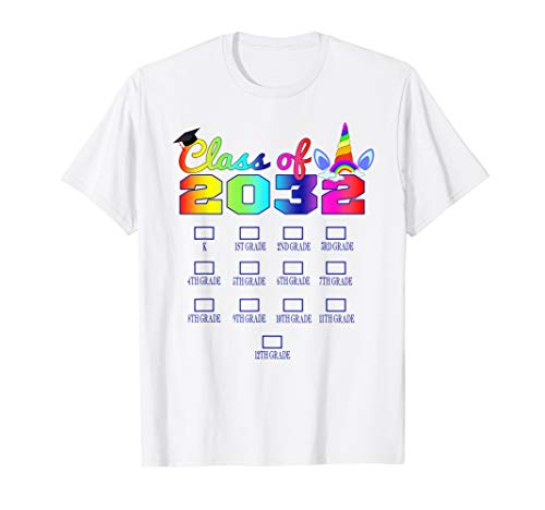 Class of 2032 Grow with me shirt Unicorn design Grow with me T-Shirt (Best Class T Shirt Design)