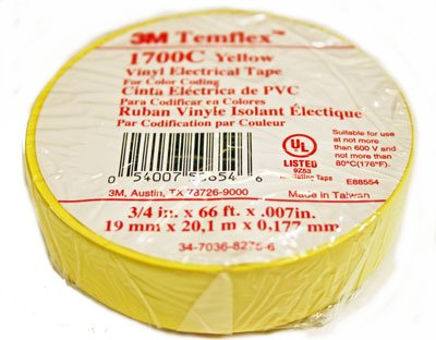 100 Pack 3M Temflex 1700C Yellow 3/4'' x 66' General Use Vinyl Electrical Tape