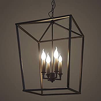 Jinguo lighting 4 lights foyer pendant with lantern style cage fram jinguo lighting 4 lights foyer pendant with lantern style cage fram chandelier hanging lamp antique black mozeypictures Image collections