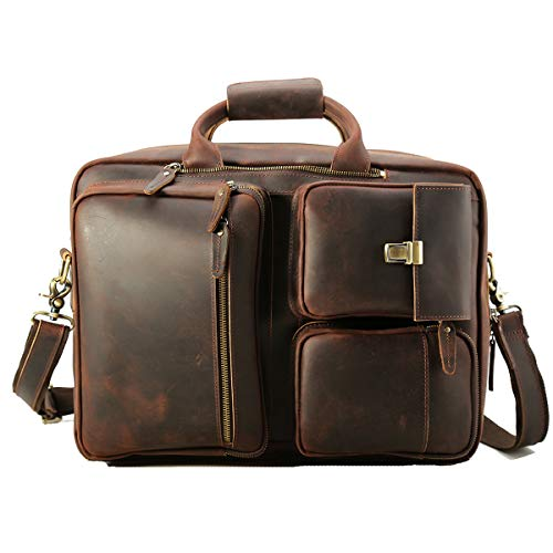 08f844c7c1ae Tiding Vintage 15.6 Inch Men s Crazy Horse Genuine Leather Convertible  Backpack Laptop Messenger Bag Large Briefcase