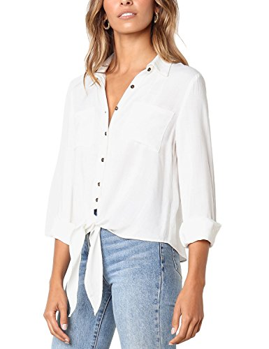 Lookbook Store Women's 3/4 Sleeve Button Up Solid Tie Front Pockets Blouse Top White, Size M