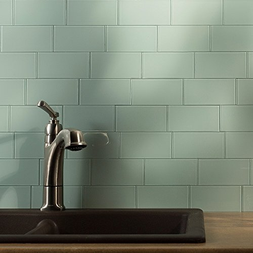 Peel And Stick Ceramic Tiles (Aspect Peel and Stick Backsplash 3in x 6in Morning Dew Glass Backsplash Tile for Kitchen and Bathrooms (8-pack))