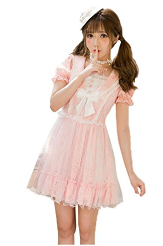 Gothic Snow White Costumes (Nuoqi Womens Lolita Sweet Lace Off-Shoulder Light Green School Girl Bubble Dress)