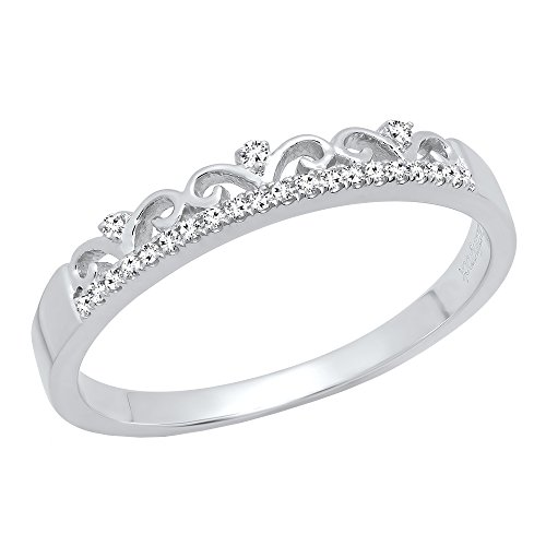 0.07 Carat (ctw) 10K White Gold Round Diamond Ladies Crown Anniversary Wedding Band (Size 7) by DazzlingRock Collection