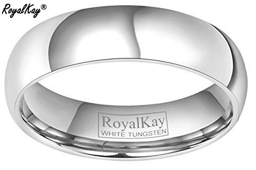 RoyalKay 2mm 4mm 6mm White Tungsten Wedding Band Ring Men Women Plain Dome High Polished Comfort Fit Size 3 To 17 (6mm,9) by RoyalKay (Image #1)