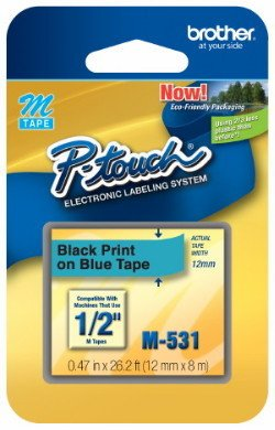 """1/2""""  Black on Blue P-touch M Tape for Brother PT-55, PT55"""
