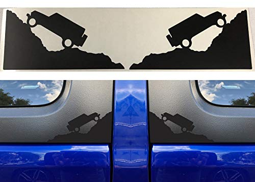 - (Compatible white4) Matte Black Jeep Climbing Mountain Decals for 2007-2018 Jeep Wrangler JK JL