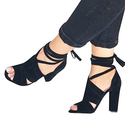 Minetom® Abend Verband Sommer Riemchensandalen Block Heel High Damen Schwarz Süße Prom Party Womens Knöchel B Schuhe Mode rB8vwxr