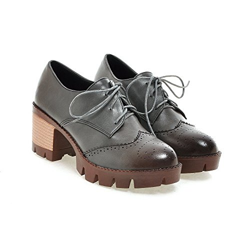 Amoonyfashion Womens Lace-up Round Fermé Orteils Chaton-talons Pu Solid-pompes-chaussures Gris