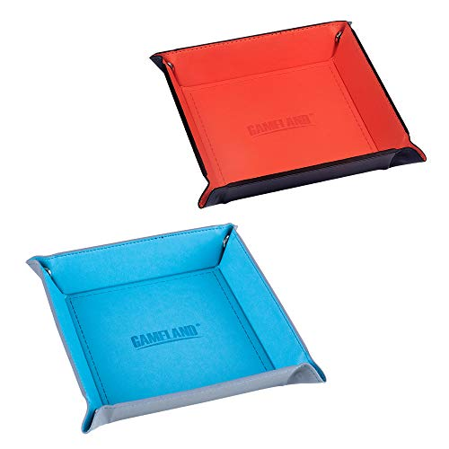 Portable Dice Rolling Tray, 2 Pack (1 Tangerine, 1 Cyan) Eco Friendly PU Leather, Folds Flat, Fits in Board Game Box for Roleplaying RPG. by Gameland