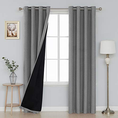 Faux Linen Blackout Curtains Grommet Top Thermal Insulated Curtains for Bedroom 52 x 95 Inch Set of 2 Curtain Panels ()