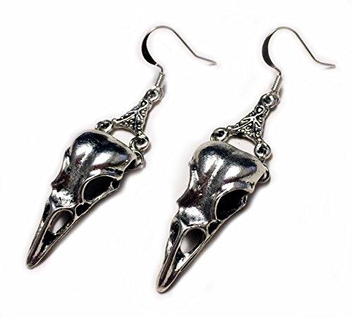 Moon Maiden Jewelry Silver Raven Skull Earrings