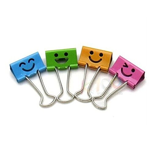 - Pack of 40 Cute Lovely Smiling Face Spring-Loaded File Organizer Paper Holder Metal Binder Clips, Assorted Color