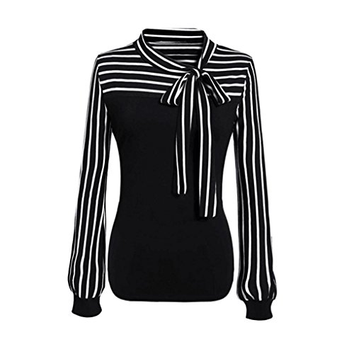 Women Blouse KFSO Tie-Bow Neck Striped Long Sleeve Splicing Business Attire Shirt Tops Blouse (Black, M)