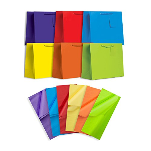 Jillson Roberts 6-Count Large All-Occasion Solid Color Gift Bags with Tissue Available in 4 Different Assortments, Bold and Bright