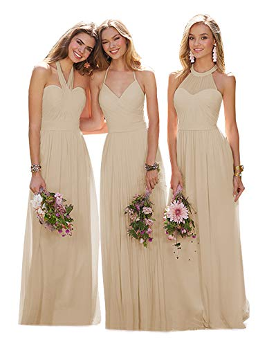 YGSY Women's V-Neck Bridesmaid Dresses Long A Line Pleated Chiffon Prom Evening Ball Gown Champagne Size 2