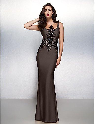Vestido Cepillo Tren Apliques Con De Jersey Formal Lazo Sirena Gala Barrer HY Noche Trompeta Chocolate Cuello Prom amp;OB Boca Negro wT6q0f
