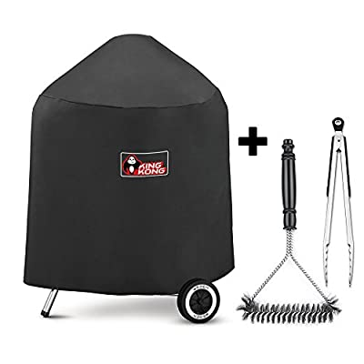 Kingkong 7149 Premium Grill Cover for Weber Charcoal Grills, 22.5-Inch (Compared to the Weber 7149 Grill Cover) Including Grill Brush and Tongs. from Kingkong Inc.