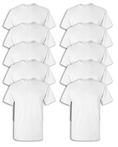 Gildan mens Heavy Cotton 5.3 oz. T-Shirt(G500)-WHITE-M-10PK
