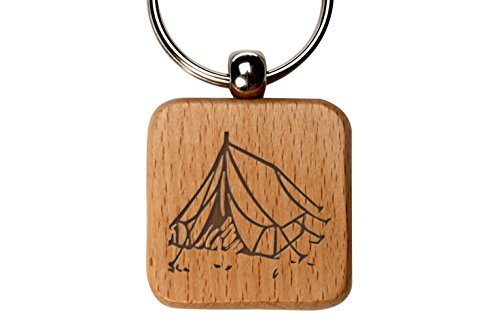 Tent Camping 1 Custom Engraved Wooden Square Key Chain By NDZ Performance (Engraved Tent)