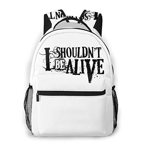 I Shouldn't Be Alive Canvas Backpack Zipper College School Bookbag Daypack Travel Rucksack Gym Bag For Youth