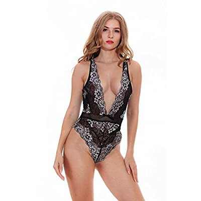 Hotme Women Sexy Lingerie One Piece Lace Teddy Babydoll Bodysuit Deep V Nightwear