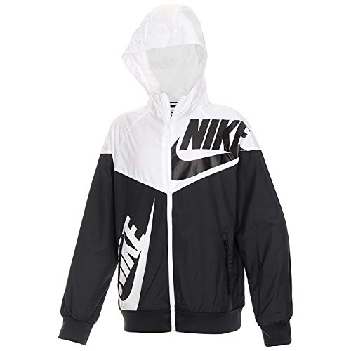 Nike Boy's Sportswear Graphic Windrunner Jacket (Black/White, Small) by Nike (Image #1)
