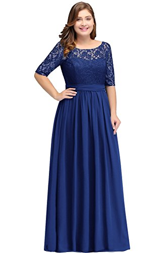Women Long Sleeve Formal Dress Maxi Cocktail Gown Royal Blue 20W ()