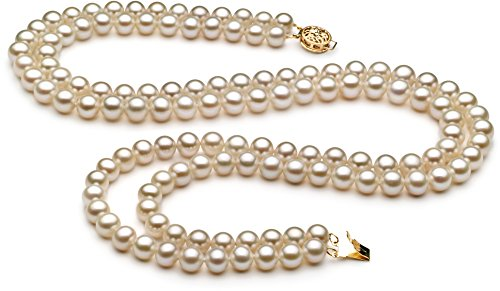 Liah White 6-7mm Double Strand AA Quality Freshwater Cultured Pearl Necklace for Women-18 in Princess Length