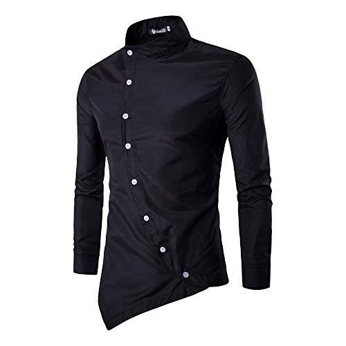 Sunhusing Men's Casual Slanting Doors Irregular Stand Collar Long Sleeve Shirt Silm Fit Tops T-Shirt