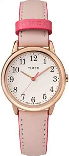 Timex Women's TW2R62800 Easy Reader 30mm Pink/Rose Gold-Tone Leather Strap Watch