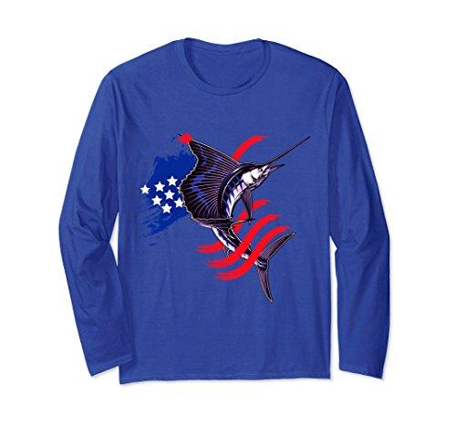 Reel All Saltwater Pro (Unisex Sailfish Flag Patriotic USA Flag Fishing Long Sleeve Shirts Medium Royal Blue)