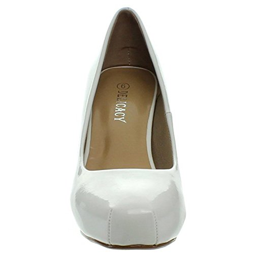 Délicatesse Womens Cyndi-92 Talons De Travail Occasion Close Toe Pompes Blanc Brevet