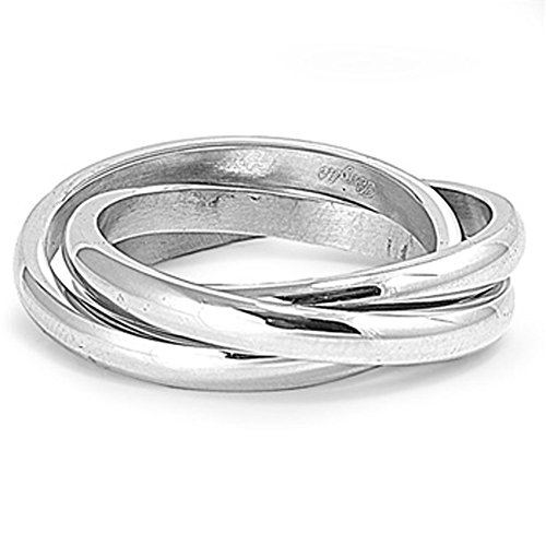 Men's Women's Triple Ring Wholesale Stainless Steel Band New USA 3mm Size 10