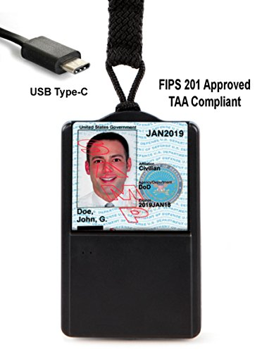 Stanley Global USB-C SGT118X-6c CAC Reader With Integral Badge/ID Holder (FIPS 201 Approved) (TAA Compliant) ()