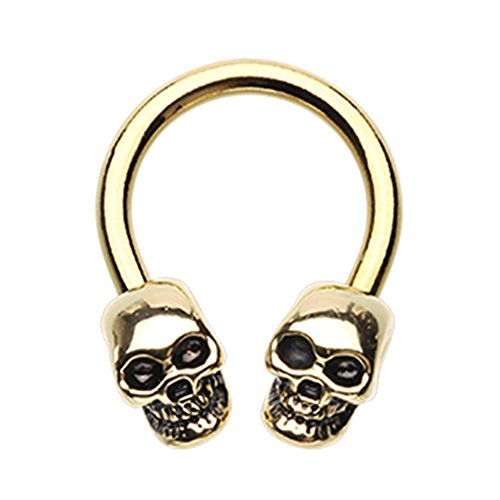 - Inspiration Dezigns Gold 14G 10mm Skull Head Surgical Steel Circular Horseshoe Barbells