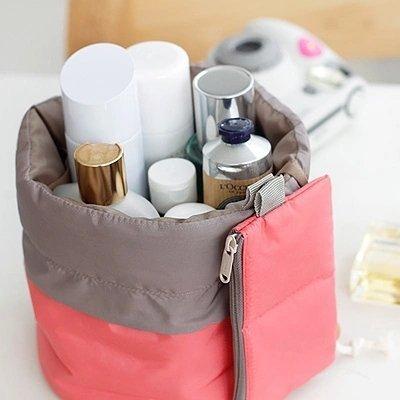 Barrel Shaped Travel Cosmetic Bag Nylon High Capacity Drawstring Elegant Drum Wash Bags Makeup Organizer Storage Bag (Drawstring Wash)