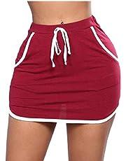 GAGA المرأة مرونة الخصر عارضة متعددة الجيوب خطوط جانبية قابلة للتمدد تنورة صغيرة