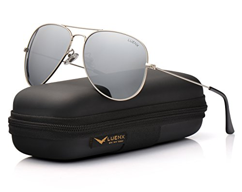 con 60mm LUENX de Aviador de plateado UV gafas polarizado el Protección conducción caso sol Hombre 6 400 11x8qfCF