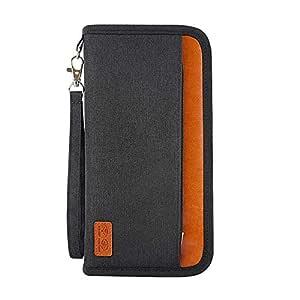 Wallet RFID Travel Passport Blocking Bifold Multi Card Case Wallet with Zipper Pocket for Women&Men (Black)