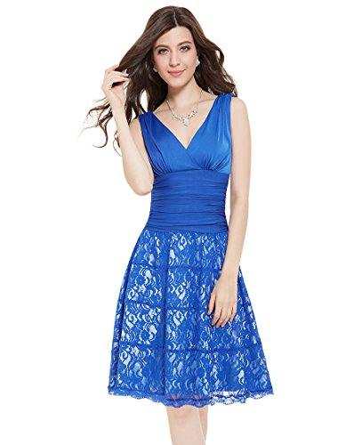Ever Pretty Womens Sleeveless Double V-Neck Cocktail Party Dress 4 US Sapphire Blue
