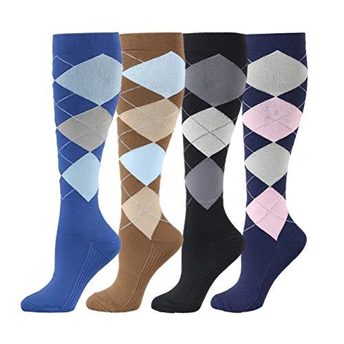 HLTPRO Compression Socks for Women & Men - 4 Pairs 20-30 mmHg Running Stockings (Mens Argyle Socks Knee High)