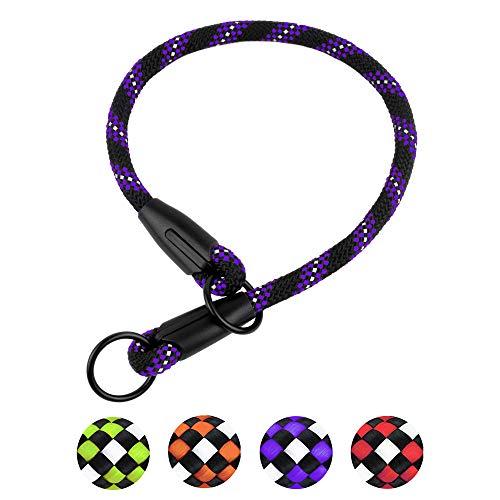 BronzeDog Rope Dog Collar Slip Choke Reflective Pet Collars for Small Medium Large Dogs Purple Orange Green (S, Purple)