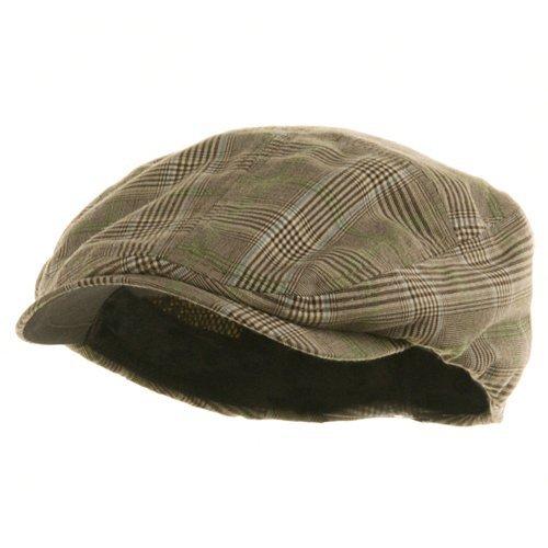 MG Men's Plaid Ivy Newsboy Cap Hat (Brown, Large) (Cabbie Hats For Men)