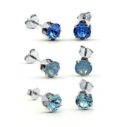 Erika & Alex 3 Pairs of Blue Sterling Silver Stud Earrings with Swаrovski Crystаls - Aqua Blue - Cloudy Air Blue - Dark Blue - Ideal Stylish Gift for Women & Girls In A Gift Box