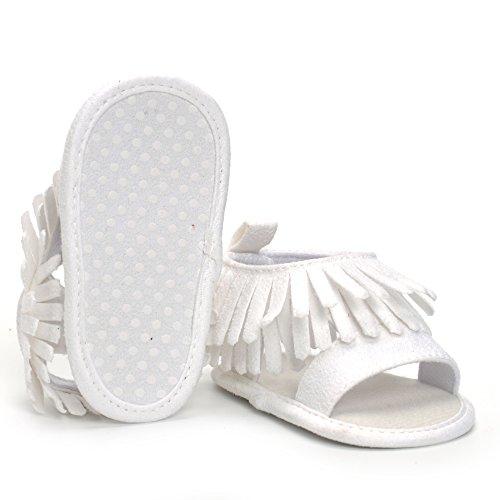 ESTAMICO Baby Mädchen Sommer Quaste Schuhe Säuglings Sandalen Weiß